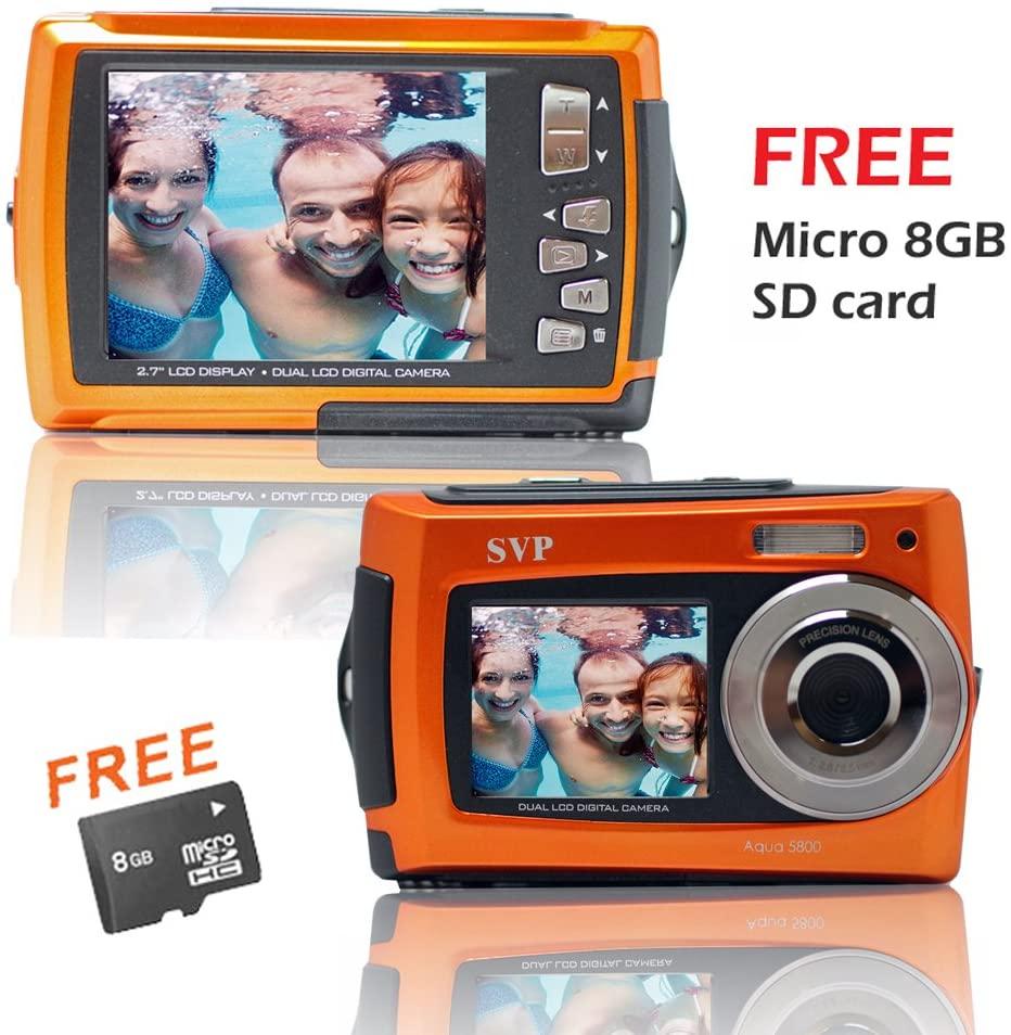 SVP Aqua 5800 Orange (with Micro 8GB) 18MP Dual Screen Waterproof Digital Camera