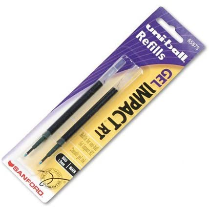 uni-ball : Refill for uni-ball Gel IMPACT RT Roller Ball Pens, Bold, Black, 2/Pack -:- Sold as 2 Packs of - 2 - / - Total of 4 Each
