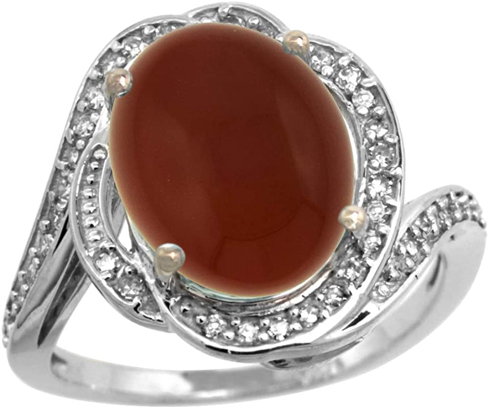 14k White Gold Diamond 0.3ct Genuine Brown Agate Bypass Ring 12x10mm Oval 11/16 inch wide, size 10