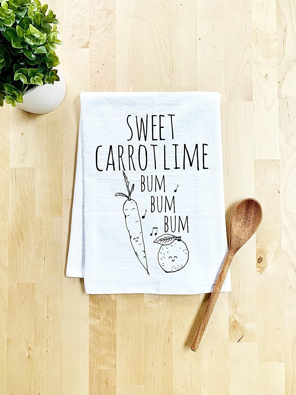 Funny Kitchen Towel, Sweet Carrot Lime, Flour Sack Dish Towel, Sweet Housewarming Gift, White