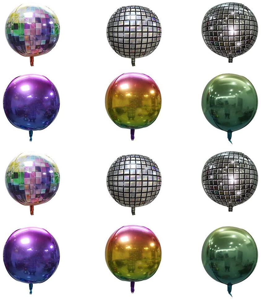 ATROPOS 12 Pack 22 Inch 4D Disco Ball Balloon Sphere Aluminum Foil Balloons Mirror Metallic Silver Balloon for Disco Dance Party Birthday Wedding Baby Shower Decor