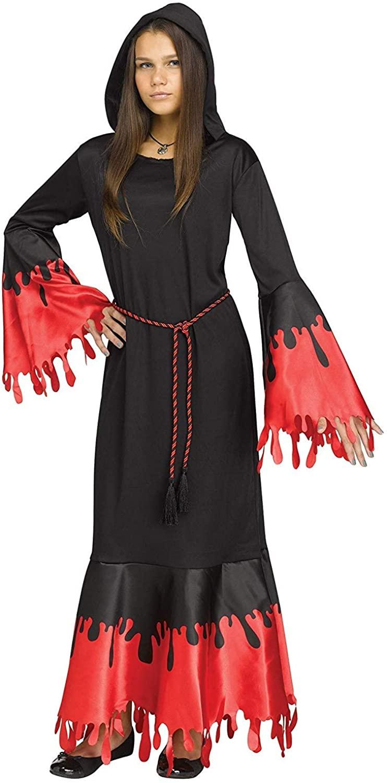 Fun World Big Girl's Vampira Costume Childrens Costume, Extra Large, XL Black Red