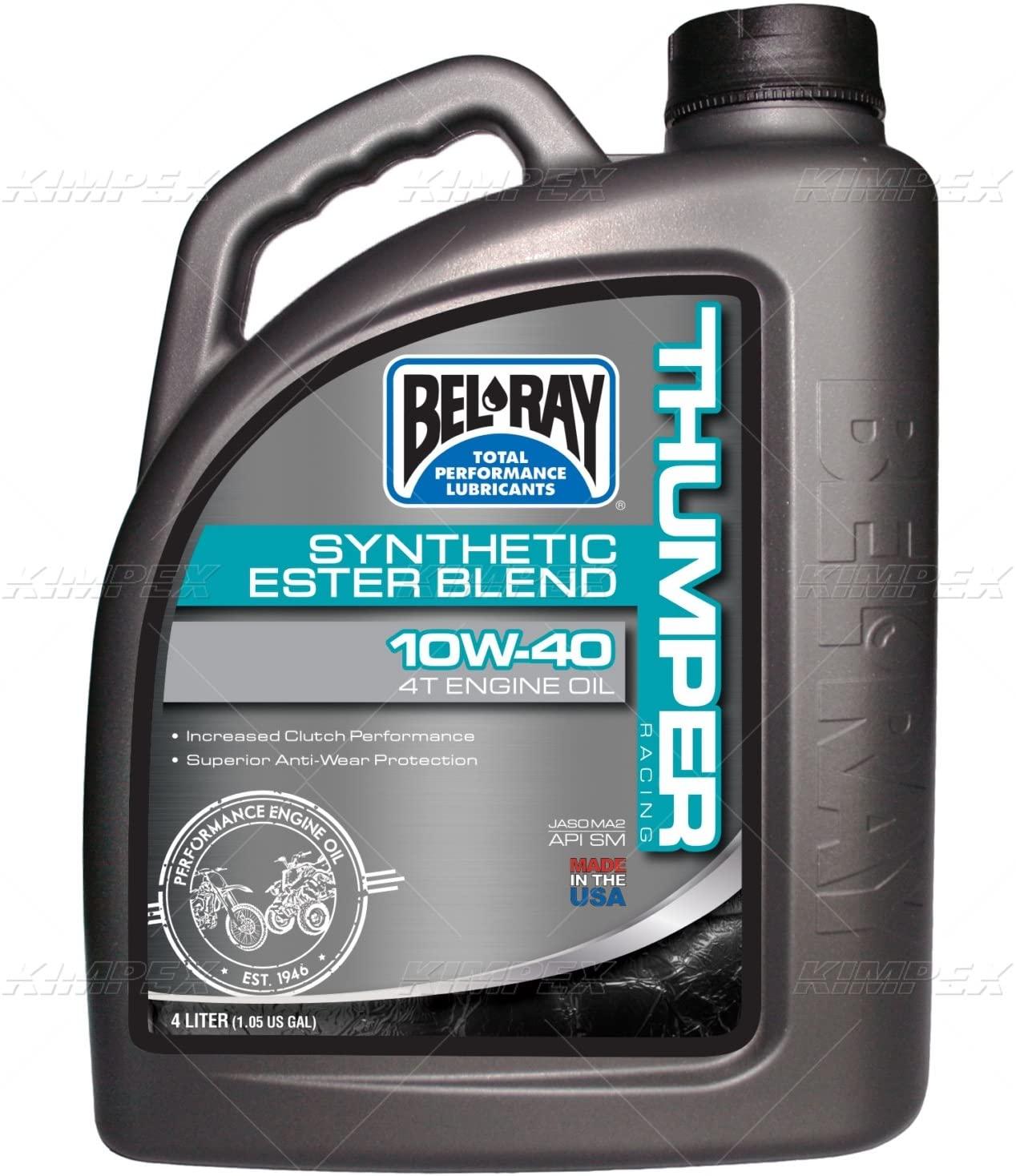 Bel-ray 99520-b4lw thumper synthetic ester blend 4t engine oil 10w-40 4-liter (99520-B4LW)