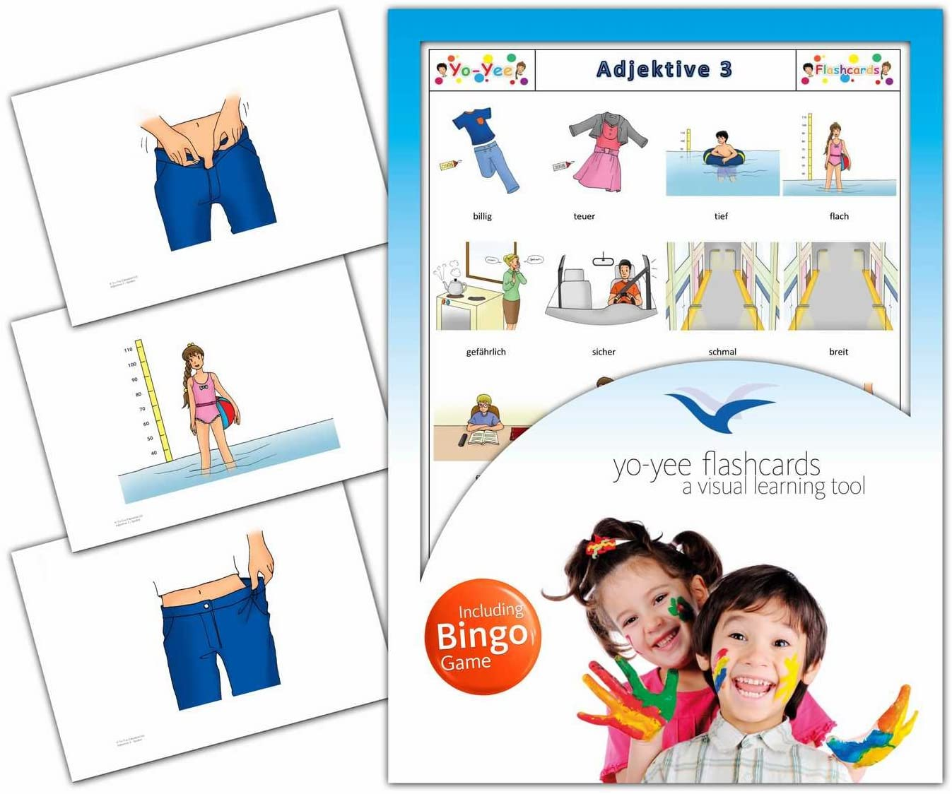 Adjectives Flashcards in German Language - Set 3 - Flash Cards with Matching Bingo Game for Toddlers, Kids, Children and Adults - Size 4.13 × 5.83 in - DIN A6
