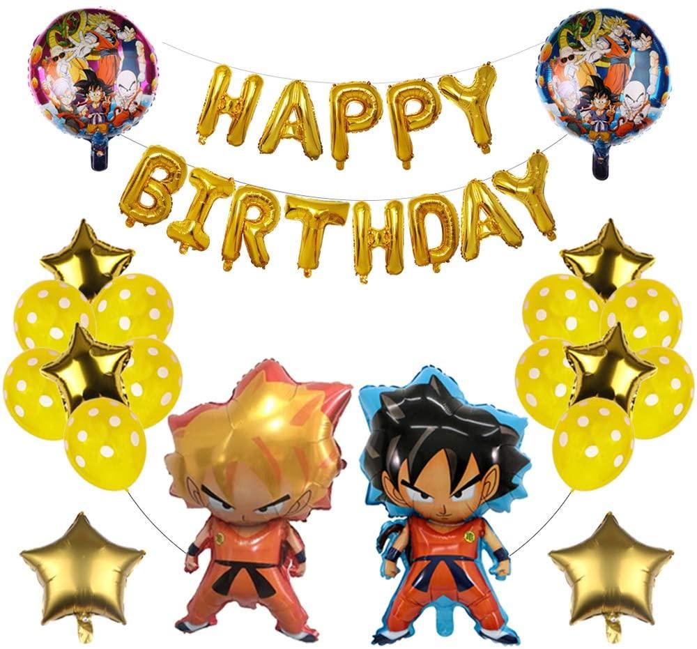 22PCS Super Saiyan Goku Gohan Character Dragon Ball Z Balloons, Birthday Banner Celebration Set,Party Supplies Decorations