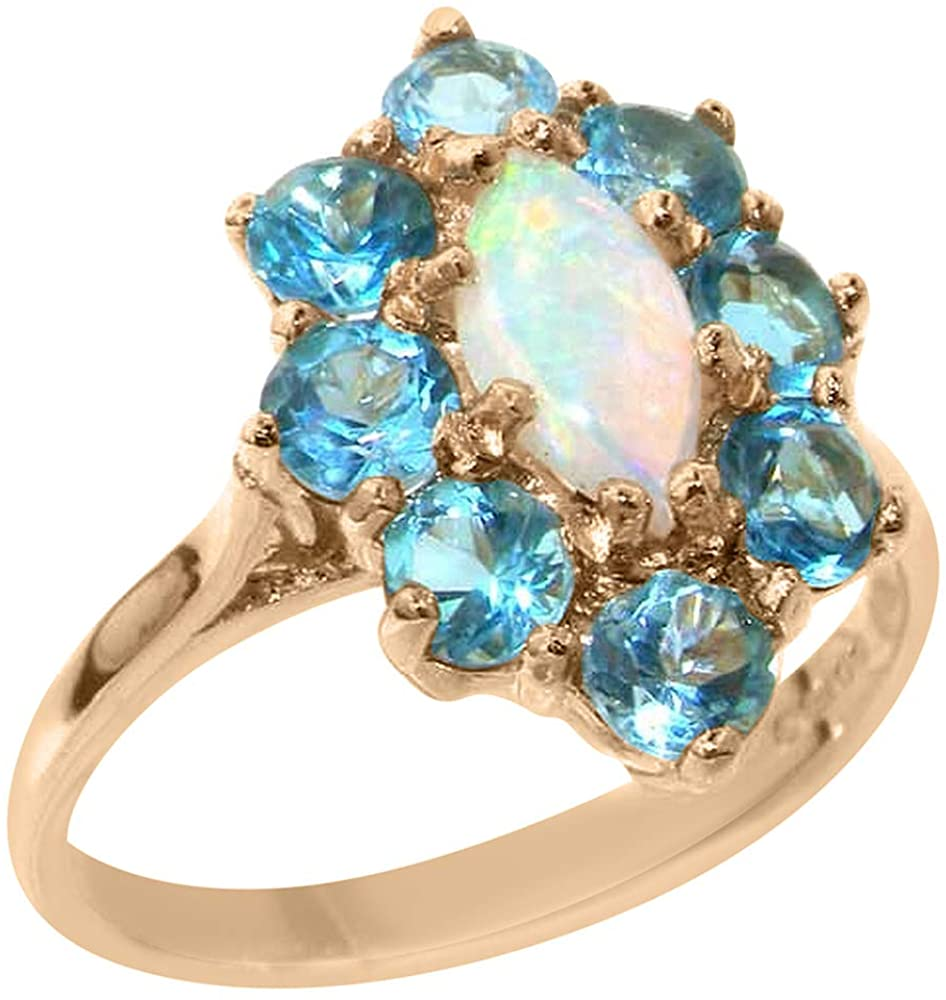 Real Solid 9k Rose Gold Natural Opal & Blue Topaz Womens Engagement Ring - Size 6.25