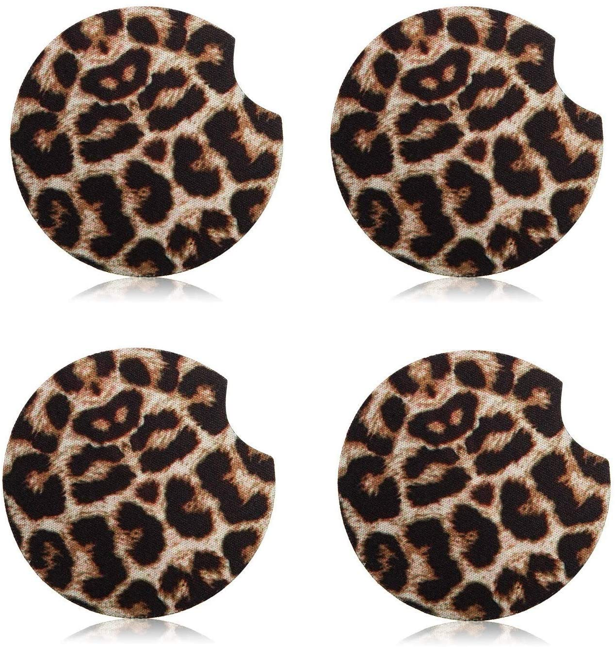 4 Pack Leopard Car Coaster Neoprene Car Cup Holder Coasters Cupholder Mug Coaster Leopard Drink Cup Mat for Car to Keep Cup Holders Clean (2.56 Inch)