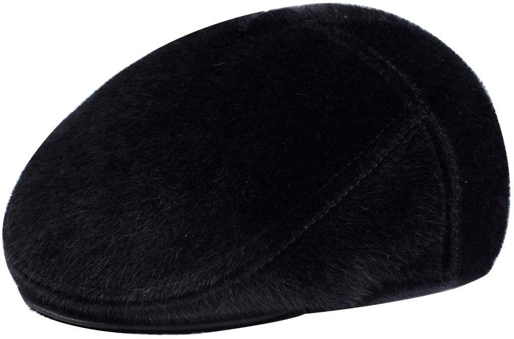 CapsA-Caps Men Women Classic Herringbone Tweed Wool Blend Newsboy Ivy Hat Cabbie Driving Windproof Plush Outdoor Hats