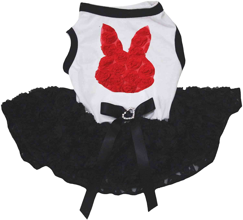 Petitebella Red Floral Bunny Face White Shirt Black Floral Tutu Puppy Dog Dress