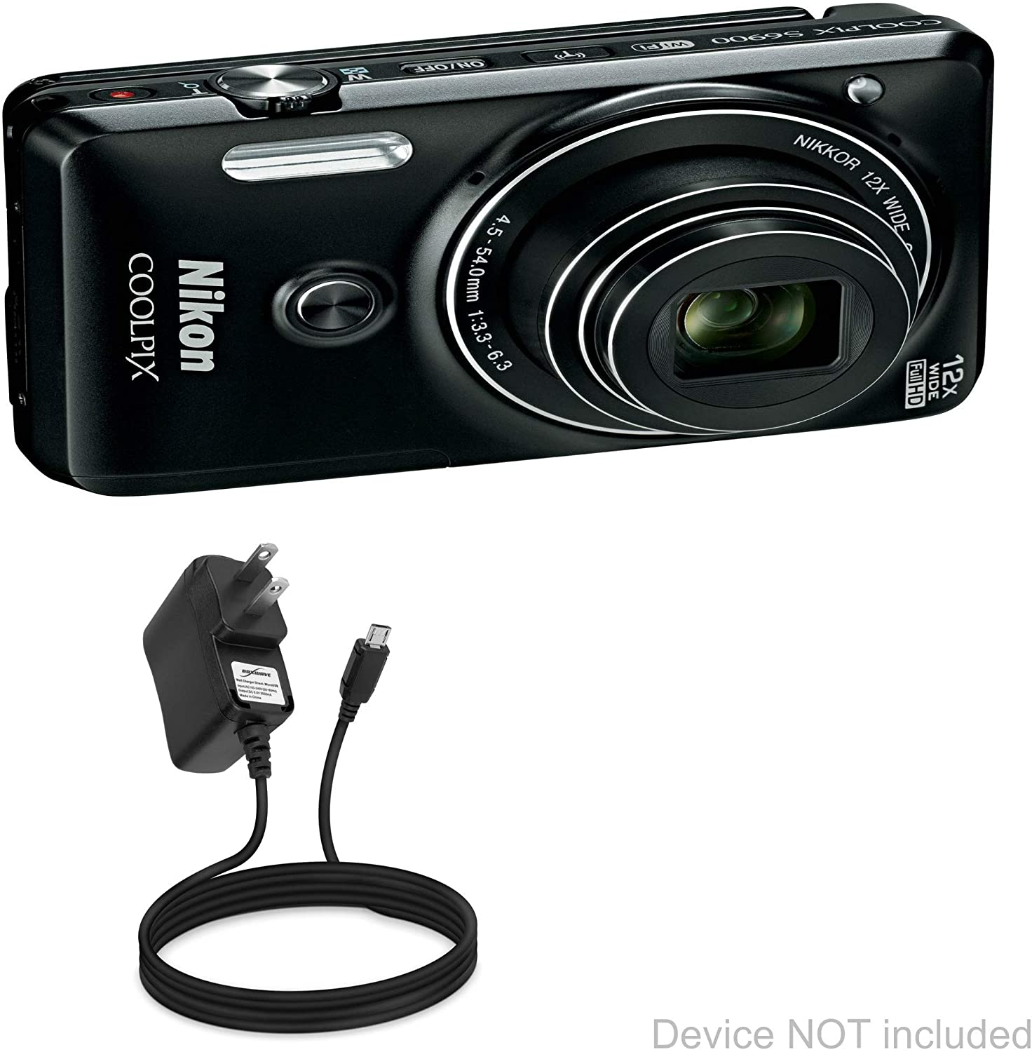 Nikon Coolpix S6900 Charger, BoxWave [Wall Charger Direct] Wall Plug Charger for Nikon Coolpix S6900