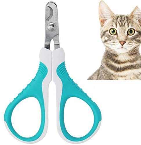 biteri Pet Nail Clippers Anti-Slip Handles Professional Avoid Overcutting Toenail Trimmer Home Grooming Kit Grooming Tool for Cats Dog Bunny Rabbit Bird Blue and White