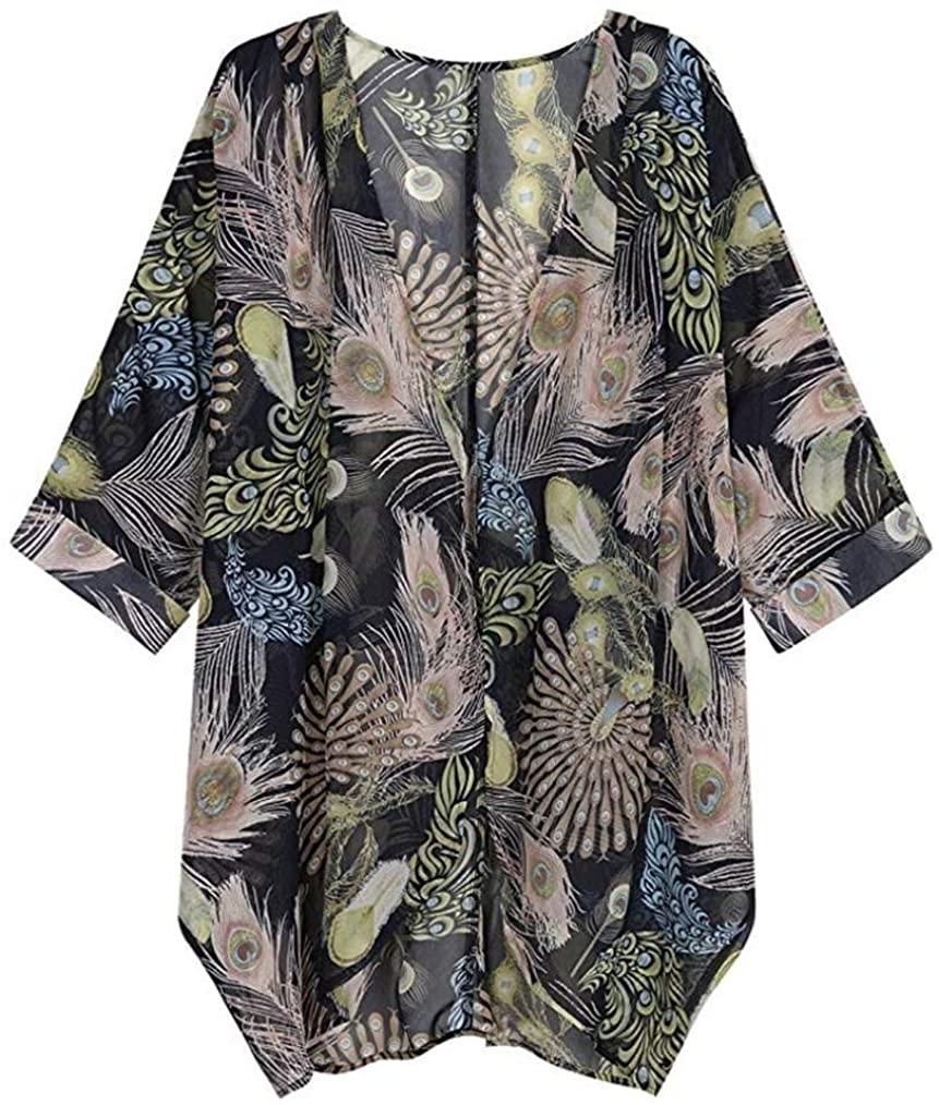 Autumn Kimono Womens Casual Floral Print Long Sleeve Chiffon Cardigan Loose Tops by MEEYA