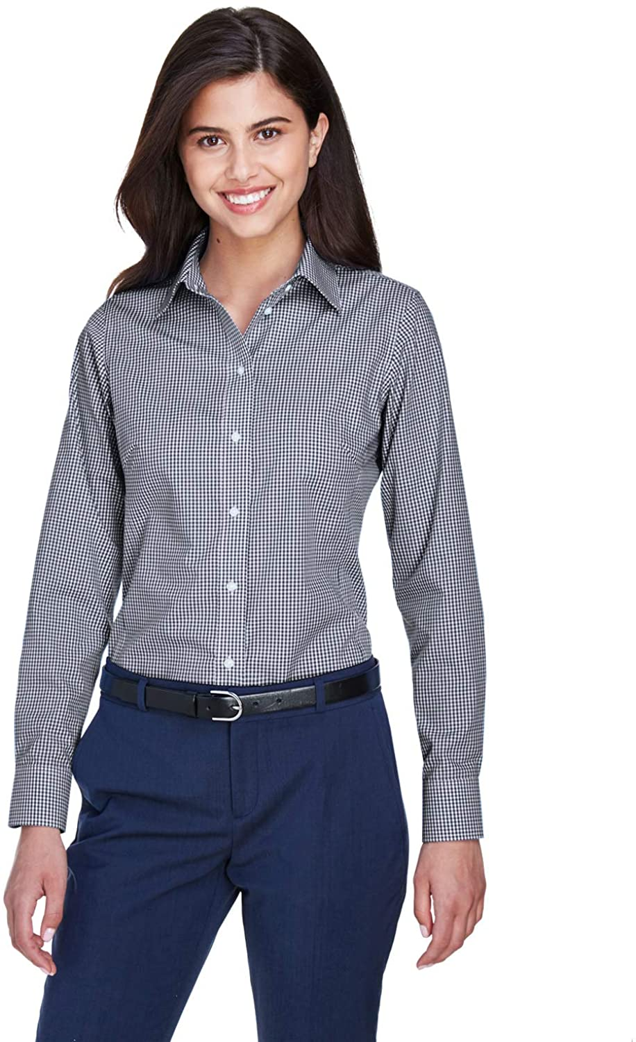 A Product of Devon & Jones Ladies' Crown Woven Collection Gingham Check -Bulk Navy