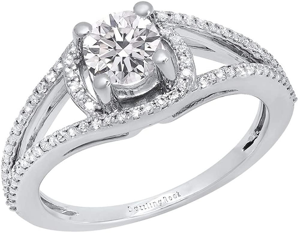Dazzlingrock Collection 1.05 Carat (ctw) Round Lab Grown Diamond Ladies Split Shank Engagement Ring 1 CT, 18K Gold