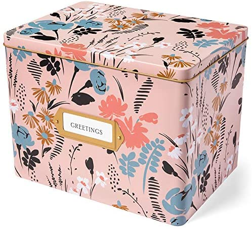 Jot & Mark Greeting Card Organizer Tin Box with Dividers, Cards, and Envelopes (Meadow)