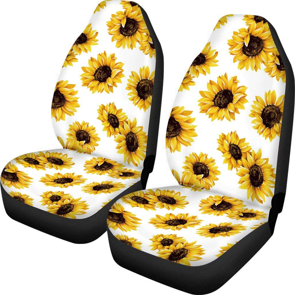 INSTANTARTS Sunflowers Fashion Bucket Front Car Seat Covers,Universal High Back Saddle Blanket Seat Cushion