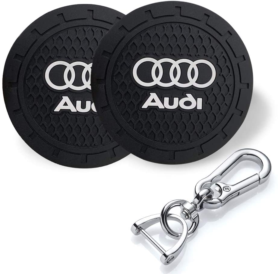 YANGYI 2.75 Inch Car Interior Accessories for Audi Cup Holder Insert Coaster - Silicone Anti Slip Cup Mat for Audi A3 S3 RS3 A4 S4 A5 S5 RS5 A6 S6 A7 S7 RS7 A8 Q3 Q5 SQ5 Q7 Q8 (2 Pack)