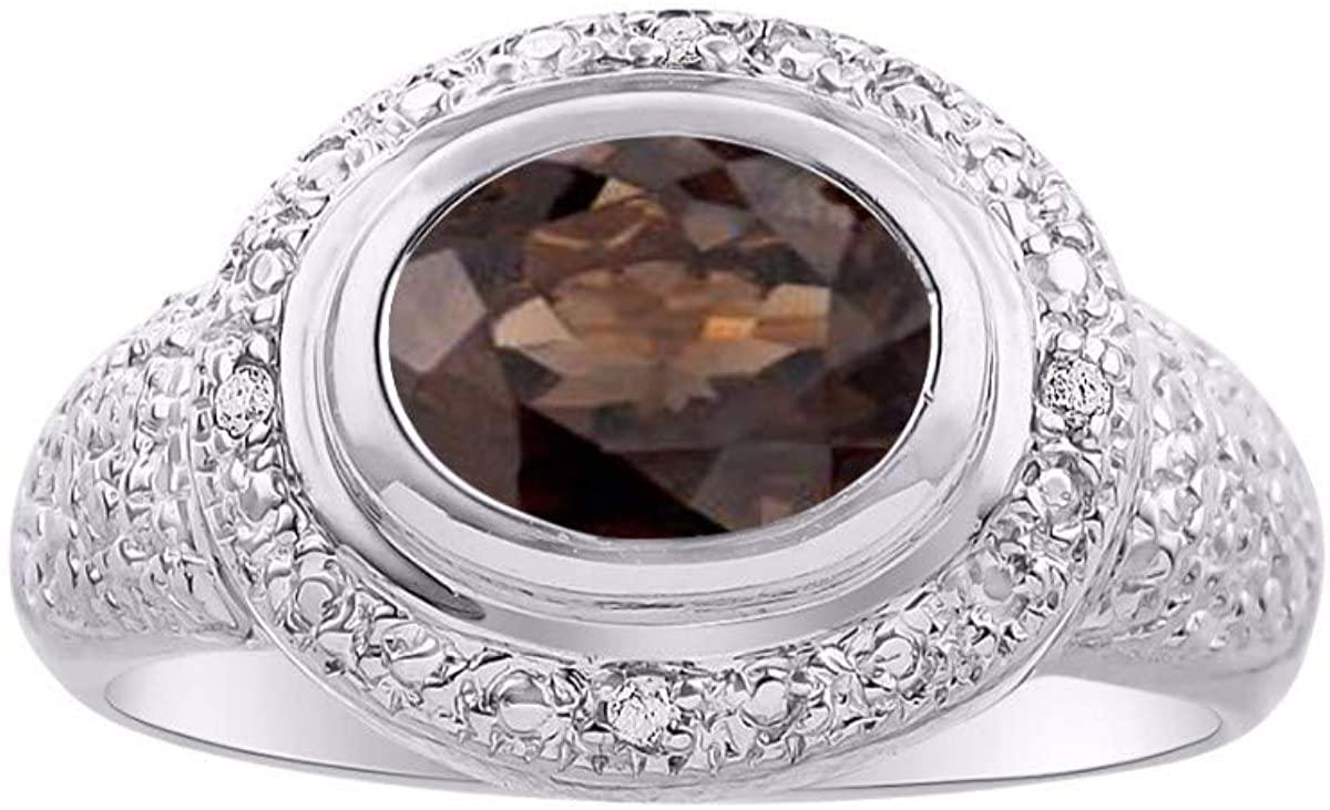 RYLOS Simply Elegant Beautiful Smoky Quartz & Diamond Ring - June Birthstone