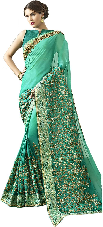 Indian Designer Ethnic Bollywood Traditional Satin Silk Saree Sari S3540 Green