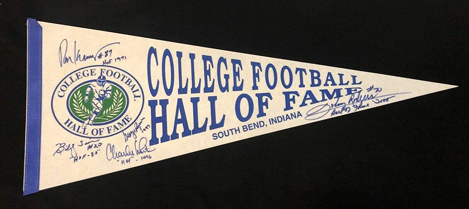 College Football Hall Of Fame Vintage Pennant Signed By 5 Beckett COA Roy Kramer - Beckett Authentication