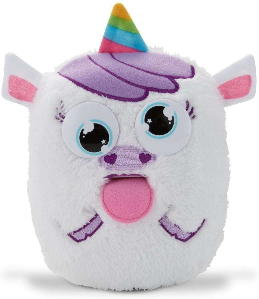 Tizzy Tongues Monster Unicorn Interactive Plush Toy, Pull Tongue or Press Nose, Eyes roll,