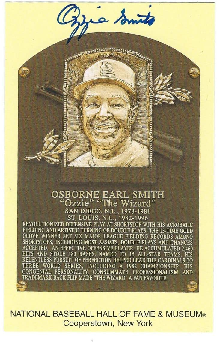 Autographed Ozzie Smith Hall Of Fame Gold Plaque
