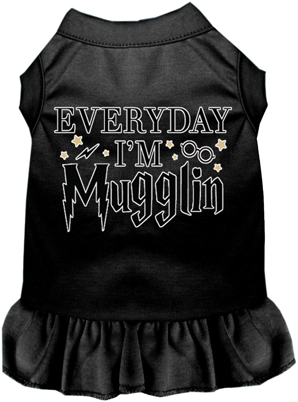 Mirage Pet Product Everyday Im Mugglin Screen Print Dog Dress Black Med (12)
