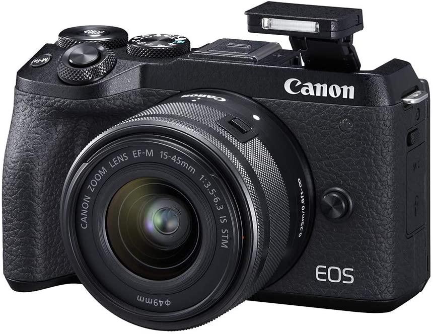Canon Mirrorless camera [EOS M6 Mark II] for Vlogging + 15-45mm lens CMOS (APS-C) Sensor  Dual Pixel CMOS Auto Focus  Wi-Fi  Bluetooth and 4K Video