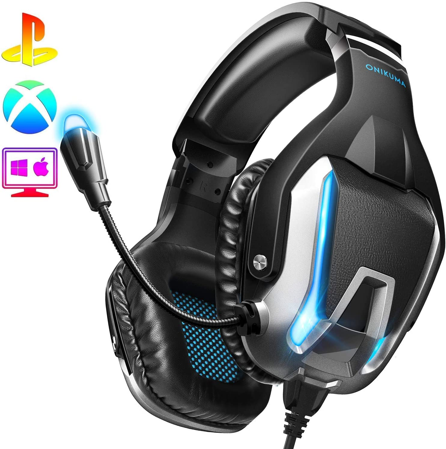 ONIKUMA Gaming Headset- PS4 Headset Xbox one Headset Gaming Headphone with Surround Sound, LED Light & Noise Canceling Microphone for PS4,PC,Mac,Xbox One(Adapter Not Included)