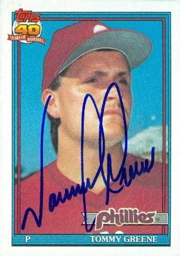Tommy Greene autographed Baseball Card (Philadelphia Phillies) 1991 Topps #486