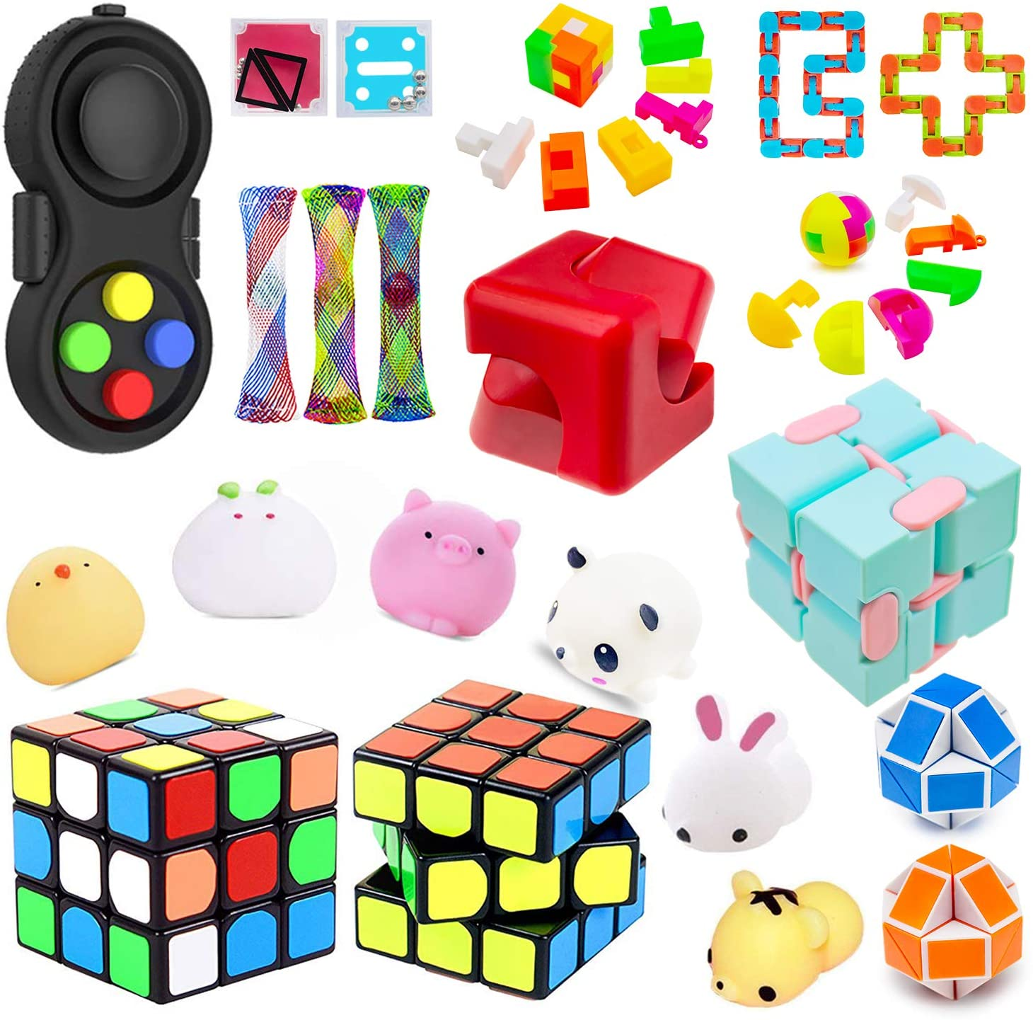 H-Partner Sensory Toys Set,Relieves Stress and Anxiety Fidget Bundle for Birthday Party Favors,Classroom Rewards,Pinata Goodie Bag Fillers,Magic Cube/Mochi Squishy,Perfect ADHD ADD Anxiety Autism