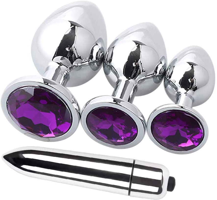 UOKNICE Sex 4 Pcs Round Shaped Base with Jewelry Birth Plugs Anal Mini Jump Eggs Trainer Toy(Purple)