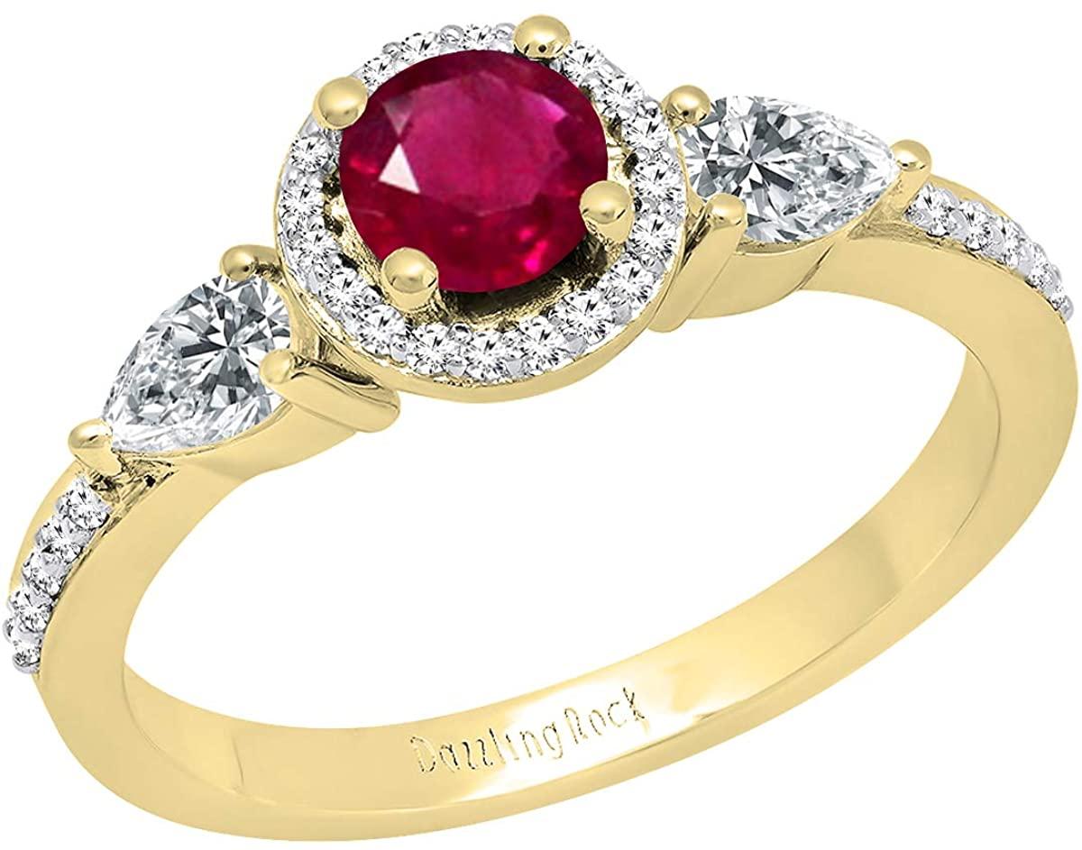 Dazzlingrock Collection 10K 6 MM Round Lab Created Gemstone, Pear White Sapphire & Round Diamond Ladies 3 Stone Ring, Yellow Gold