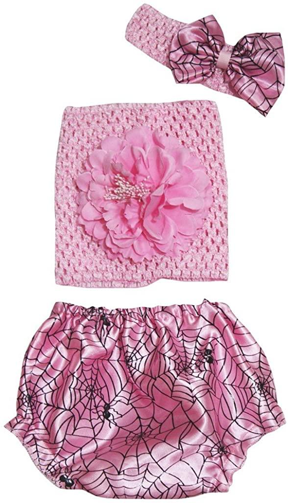 Leaf Sison Light Pink Tube Top Pink Cobweb Bloomer Pantie Baby Outfit Set 3-12m