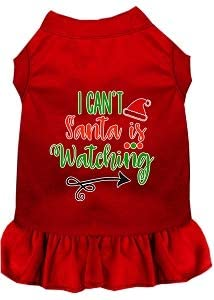 Mirage Pet Product I Cant, Santa is Watching Screen Print Dog Dress Red 4X