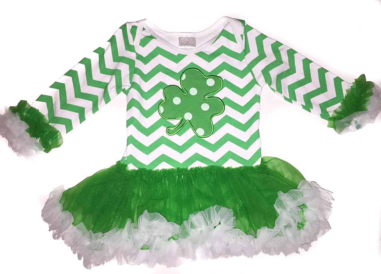 Infantile Shop St. Patrick's Day Baby/Toddler Green Chevron Tutu Ruffle Onesie