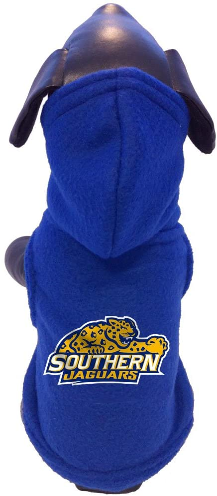 NCAA Southern Jaguars Polar Fleece Hooded Dog Jacket, Tiny