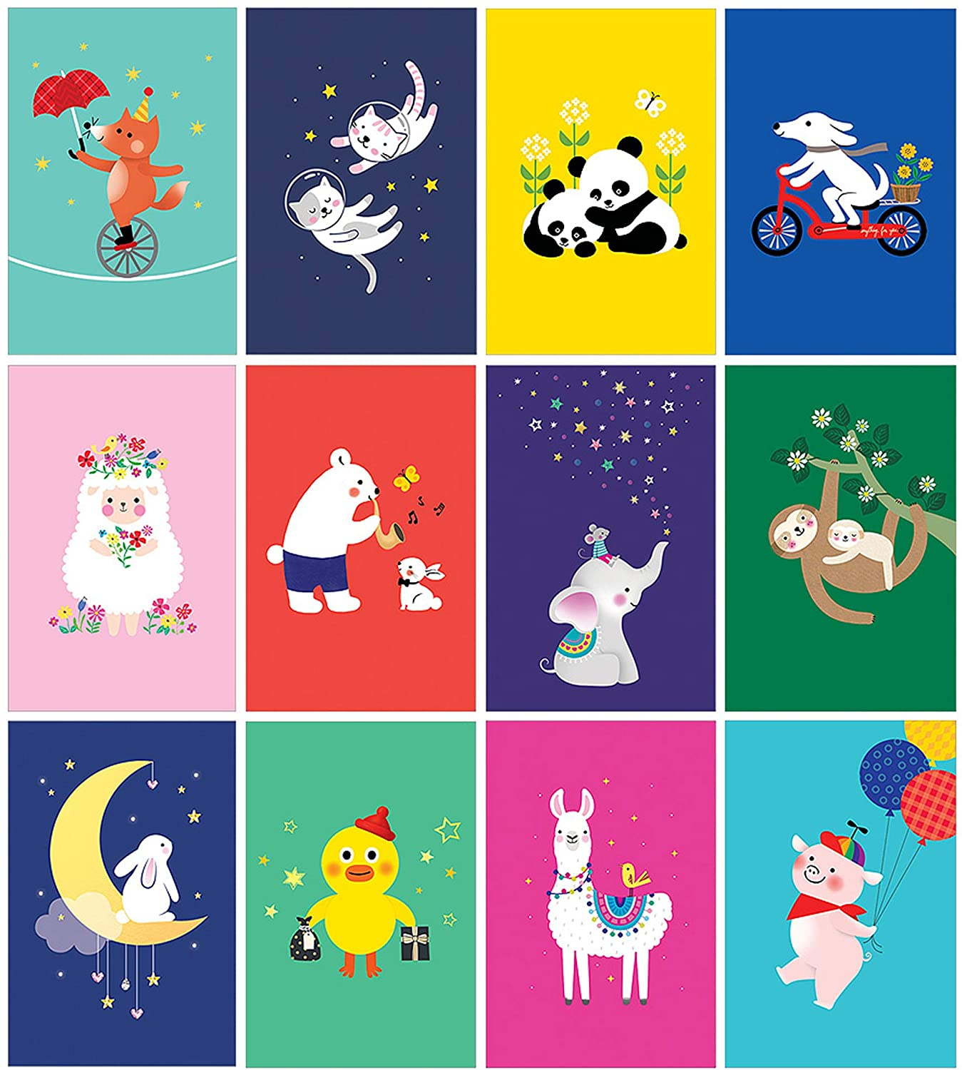 Set of 60 MAUMDAMA Assorted Postcards - Unique Designs of Animals with Various Vivid Colors of Colors of Cards - 12 Different Designs, 5 of Each - 4 x 6 Inches - Made in Korea (Vivid Animals)