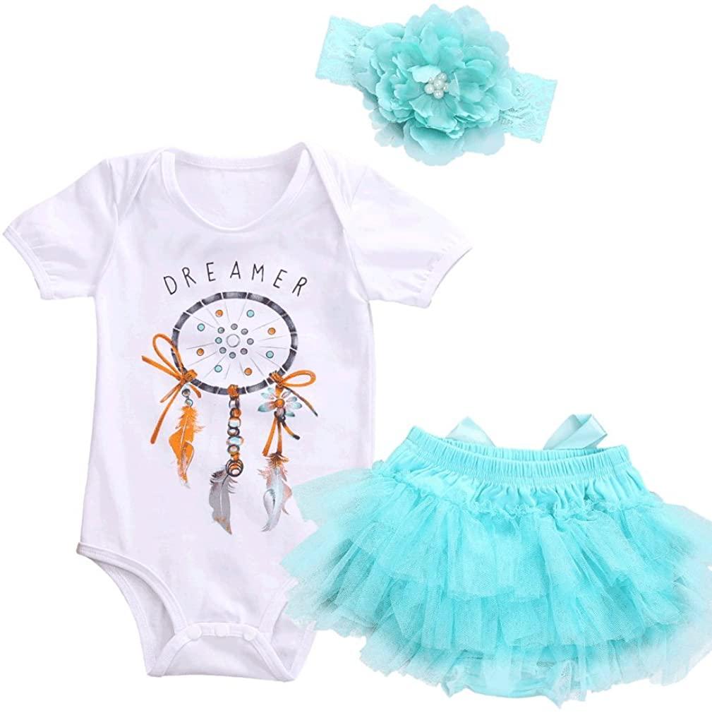 Baby Clothes Newborn Girls Cute White Cotton Romper + Blue Dress Skirt + Headband, 3 Pcs/Set