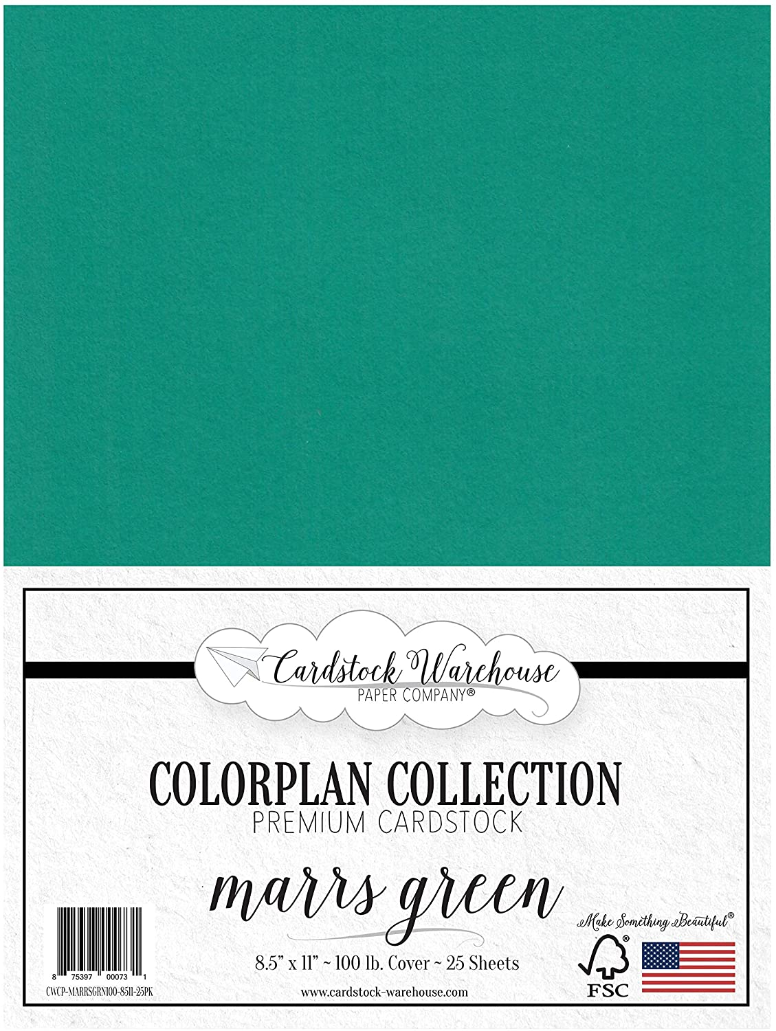 MARRS Green/Teal Green Cardstock Paper - 8.5 x 11 inch - Premium 100 lb. Cover - 25 Sheets from Cardstock Warehouse