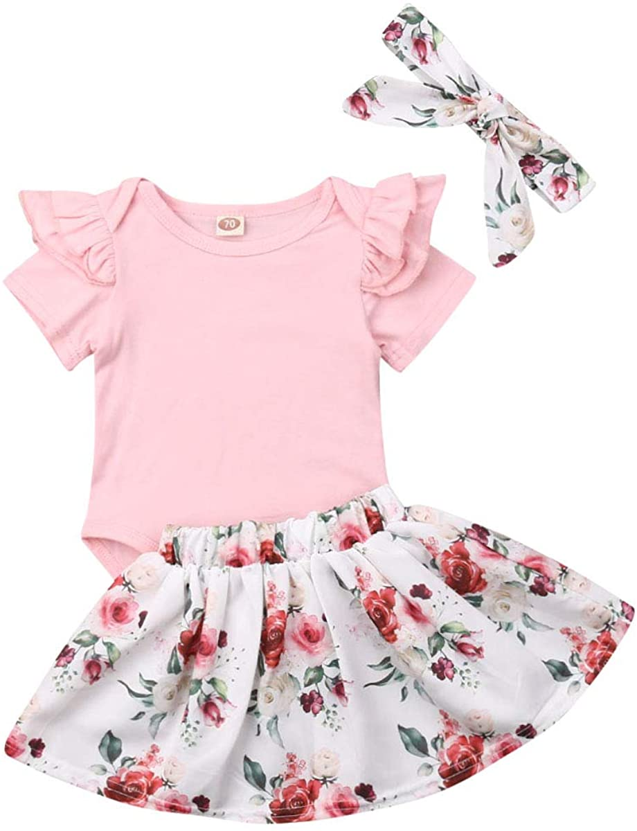 Toddler Baby Girl Summer Clothes Ruffle Short Sleeve Solid Romper+Floral Skirt+Bowknot Headband 3Pcs Outfits