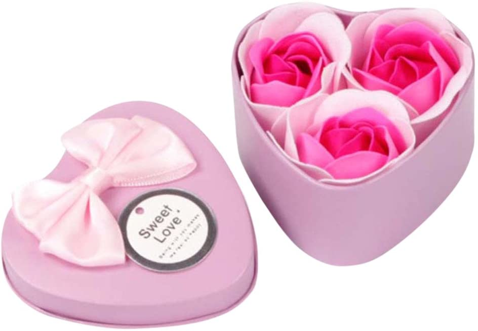 Jeeke 3Pcs Heart Rose Soap Petals Floral Scented Soaps Strip for Valentines Day, Mothers Day, Womens Day