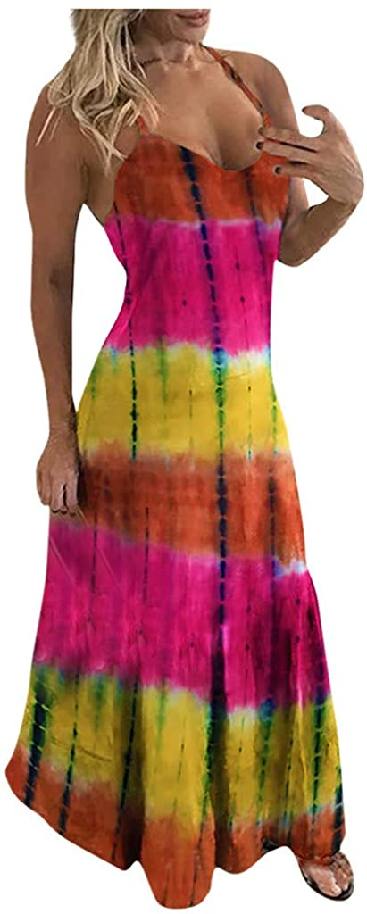Summer Dresses for Women Plus Size Bohemian Style Casual Loose Dress Beach Cover Up Long Cami Maxi Dresses