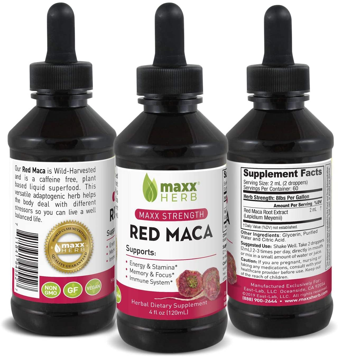 Maxx Herb Red Maca Liquid Extract (4 Oz Bottle with Dropper) Max Strength, Absorbs Better Than Maca Powder, for Energy, Stamina, Hormone Balance, Memory and Focus, Alcohol-Free, 60 Servings