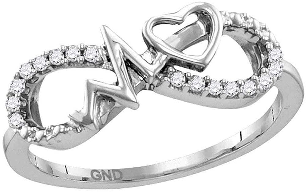 The Diamond Deal Sterling Silver Womens Round Diamond Infinity Heartbeat Ring 1/10 Cttw