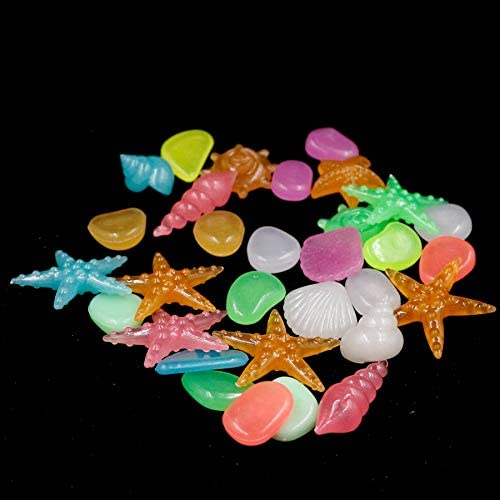 50 pcs Aquarium Ornaments/Stones Glow in The Dark/Luminous Pebbles Stones for Garden Ornament Fish Tank Decoration