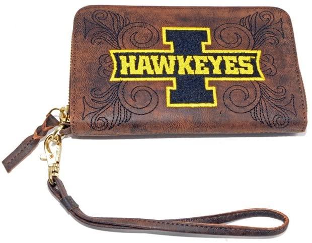 NCAA Iowa Hawkeyes Women's U of Iowau Wristlet, Brass, 8 x 5 1