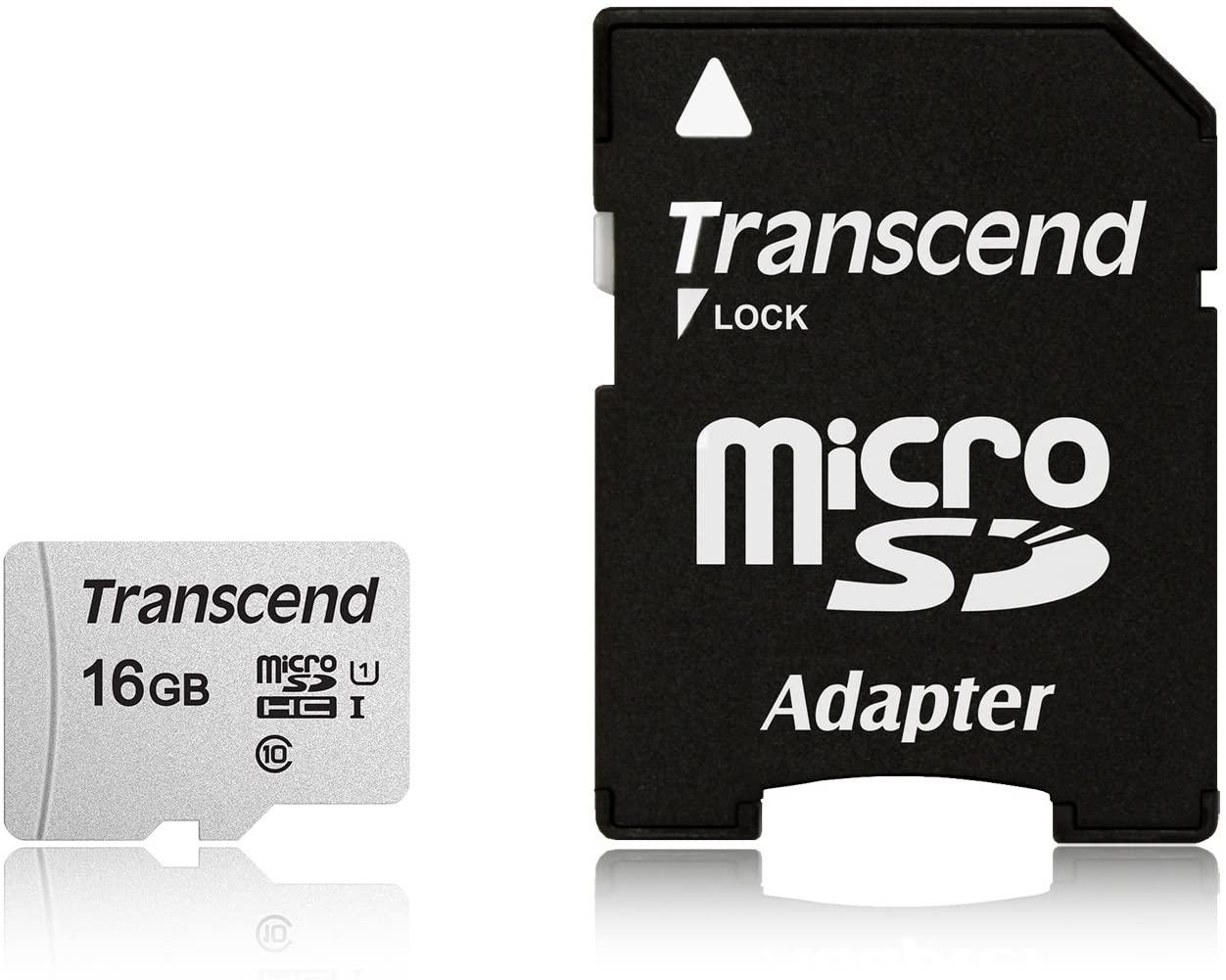 Transcend 16GB MicroSDXC/SDHC 300S Memory Card TS16GUSD300S-A