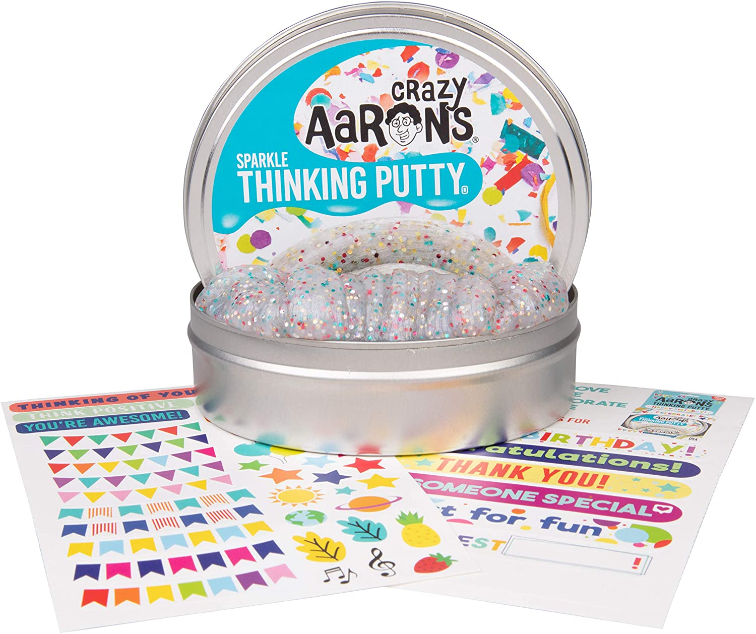 """Crazy Aaron's Thinking Putty 4"""" Tin Gift Set - Celebrate! Glitter in Clear Putty, Includes Customizable Greeting Card and Stickers - Soft Texture, Non-Toxic, Never Dries Out"""
