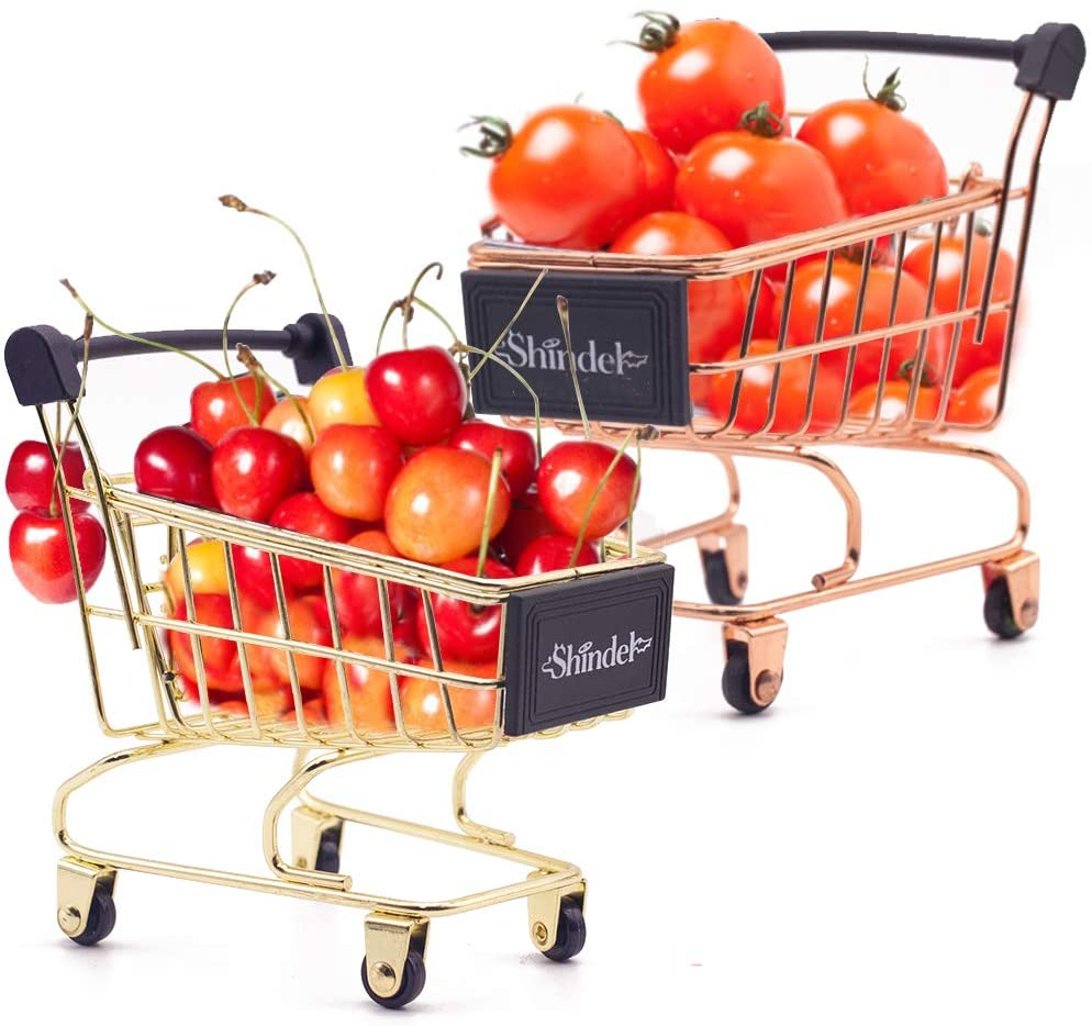 Mini Brands Shopping Cart, 2PCS Shopping Day Grocery Cart Mini Supermarket Handcart Toy Shopping Carts